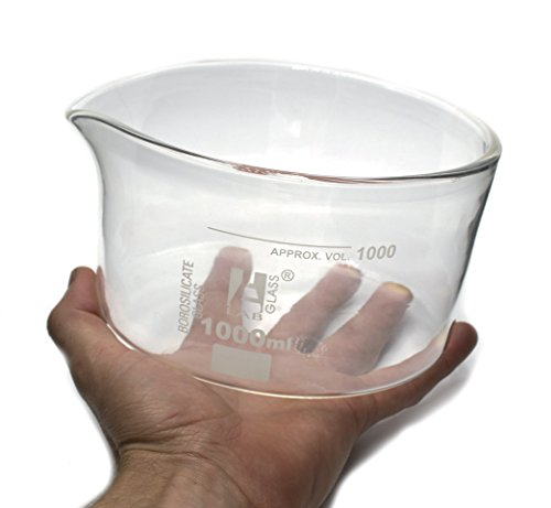 Large Crystallizing Dish with Spout and heavy rim - 1000ml Capacity, Borosillicate Glass, OD 150mm