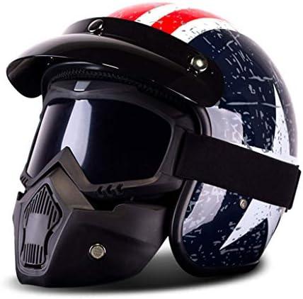 NJ ヘルメット- レトロハーレーオートバイ機関車電気自動車ヘルメット男性と女性マスクヘルメットと米国キャプテン (Color : Blue red mask, Size : 25x24x24cm)