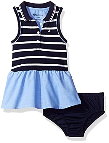 Nautica Baby Girls' Sleeveless Stripe Knit Pique Bodice Dress with Chambray Skirt, Navy, 6/9 Months - Skirts Sleeveless Knit Dress