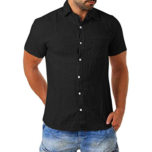 FONMA Men's Baggy Cotton Blend Pocket Solid Short Sleeve Turn-Down Collar T Shirts Black