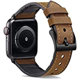 XinywTech Compatible with Apple Watch Band 44mm 42mm,Sweatproof Genuine Leather and TPU Hybrid Replacement Band Strap Compatible iWatch Series 4 44mm Series 3/2/1 42mm Sport and Edition (Dark Brown)