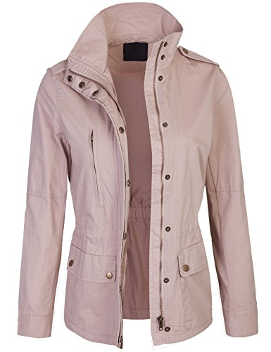 Price comparison product image Kogmo Womens Zip Up Military Anorak Safari Jacket Coat -L-BLUSH