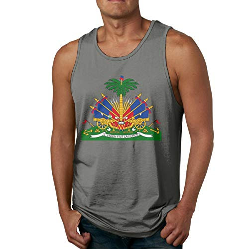 Geeboomee Coat of Arms of Haiti Men's Cotton Loose Fit Tank Tops Athletic Workout Sleeveless Shirts for Male Deep Heather ()