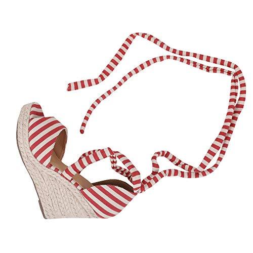 Huiyuzhi Womens Lace Up Wedge Espadrille Sandals Peep Toe Criss Cross D'Orsay Dress Sandals Red (Toe Cross Peep Criss Pumps)