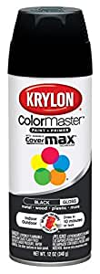 Krylon 51601 Gloss Black Interior and Exterior Decorator Paint - 12 oz. Aerosol
