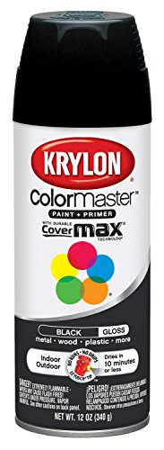 Krylon K05160107 ColorMaster Paint + Primer, Gloss, Black, 12 oz.