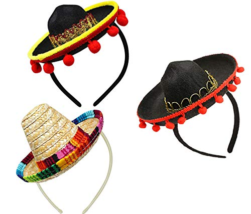 3 Pack Cinco De Mayo Fiesta Fabric and Straw Sombrero Headband Set Mini Mexican Hats for Fun Fiesta Hat Party Supplies, Mexican Decorations Hats for Dia De Los Muertos, Wedding, Birthdays and Party
