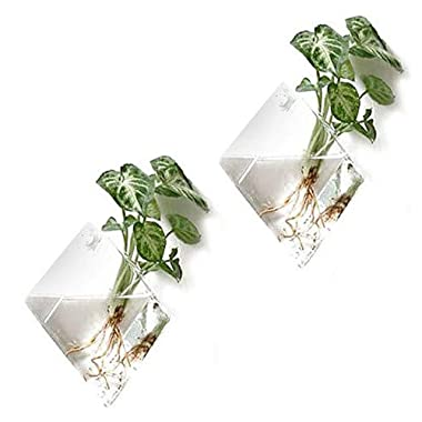 2 Pack Wall Hanging Planters Glass Hanging Plant Containers Decorative Terrariums Indoor Outdoor Glass Diamonds Wall Glass Hanging Planter Glass Flower Pots Plant Containers Glass Terrarium