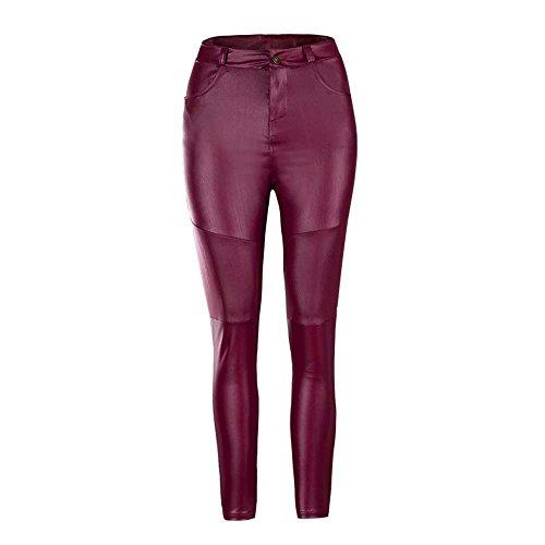 Fit Monocromo Trousers Taschechic Di Pelle Vita Donna Alta Lunga Stoffa Rot Slim Pantaloni Elegante Moda Autunno Sintetica Fashion Con Pureed Primaverile x08p70