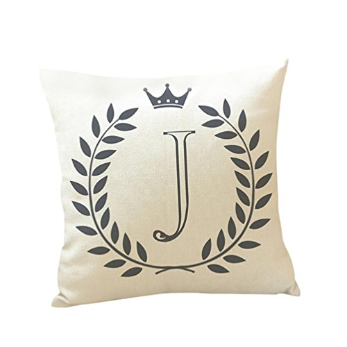 (Kimloog 18 x 18 Linen Throw Pillow Case Leaf Letters Pattern Decorative Square Cushion Cover (J))