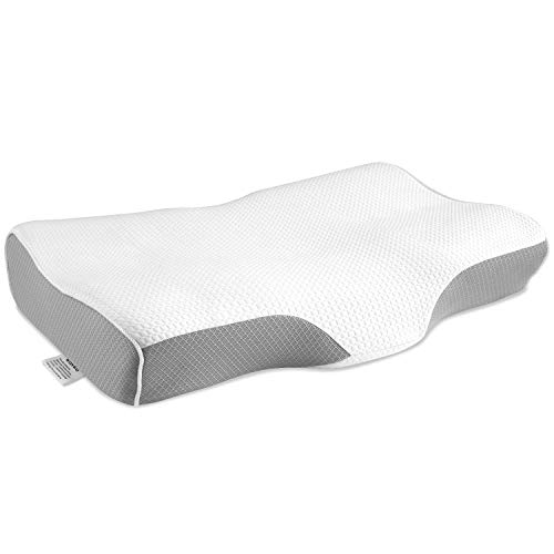 Wonwo Memory Foam Pillow, Orthopedic Pillow, Cervical Contour Massage Bed Pillows for Sleeping, Neck Support Pillow for Neck Pain with Washable Breathable Pillow Case ()