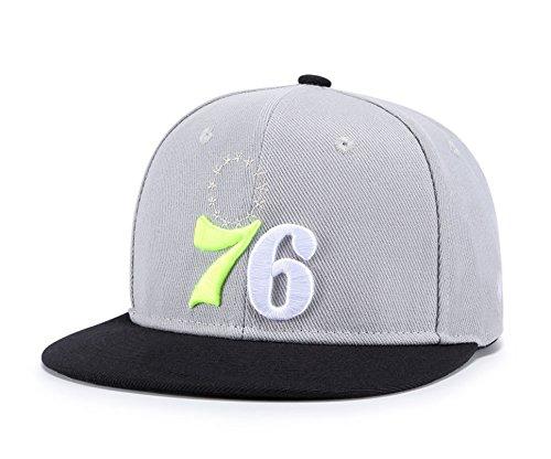 All Star Embroidered Cap - 76 Embroidered Baseball Cap, Stars Snapback Unisex Hip Hop Plaid Flat Brim Hat