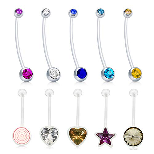 MODRSA 14G Jeweled CZ Belly Button Rings Retainer for Pregnancy Maternity Sport Women Flexible Bioplast Navel Piercing Ring Barbell Heart Shaped 18mm 38mm