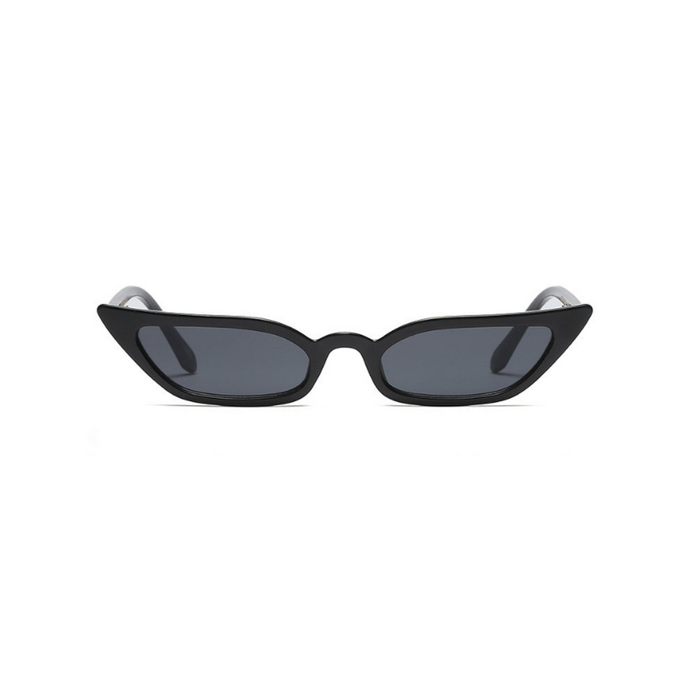 MINCL/Sexy Women Small Frame Chic Vintage Designer Lady Cat Sunglasses (light black-black)