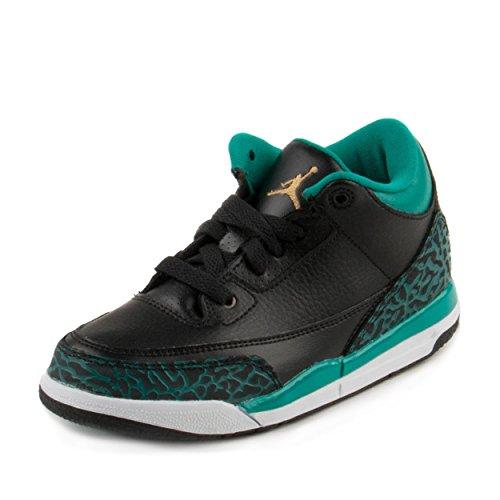 Nike Baby Girls Air Jordan 3 Retro GG Black/Metallic Gold-Teal Leather Size 1.5Y (Nike Jordan Air Gold)