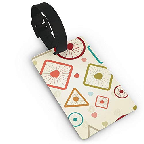 (Homlife Heart Love Geometric Pattern PVC Travel Luggage Tag with Strap for Baggage Bag/Suitcases - Business Card Holder Name ID Labels Set for)