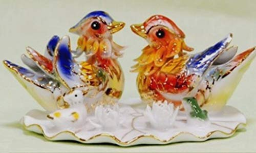 Feng Shui Mandarin Ducks- Hand Crafted and Decorated Fine Chinese Porcelain, Figurine 2125022 (Red)