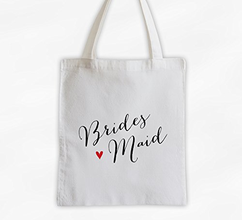 Bridesmaid with Heart Cotton Canvas Tote Bag - Handwritten Script Bridal Party Attendants Gift (3013-BM) ()