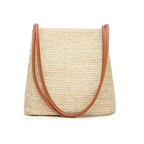 (Women Handbag Straw Woven Tote Large Summer Beach Shoulder Bag Beige)