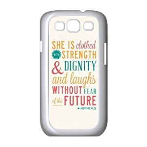 diycover Samsung Galaxy S3 I9300I9308I939 Case - Christian Theme - Bible Verse Proverbs 31:24s - Durable and lightweight Cover Case