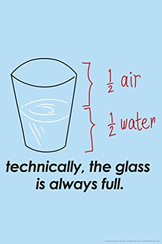 (Laminated Technically The Glass is Always Full Humor Sign Poster 12x18 inch)
