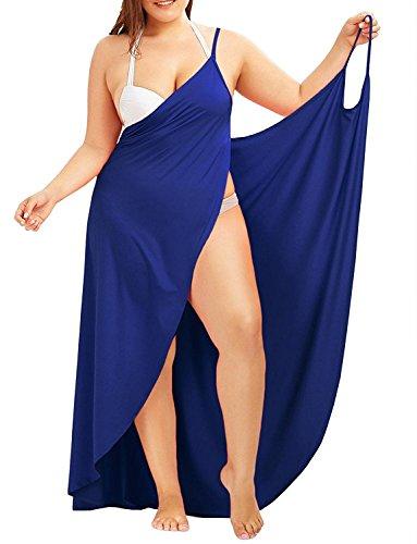 Jeanewpole1 Womens Plus Size Spaghetti Strap Cover Up Beach Backless Wrap Midi Dress (Large, 2-Blue)