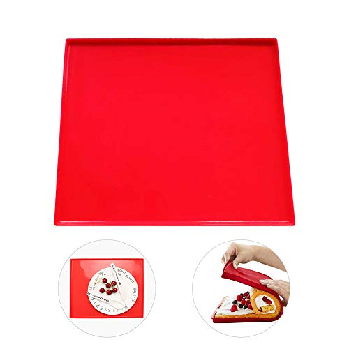 Hangnuo Silicone Non Stick Swiss Roll & Roulade Baking Sheet 12.4X10.6X0.35 Inches Red