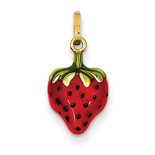 14K Yellow Gold Enameled Puffed Strawberry Charm - (0.67 in x 0.35 in) (Diamond Gold Strawberry Charm)