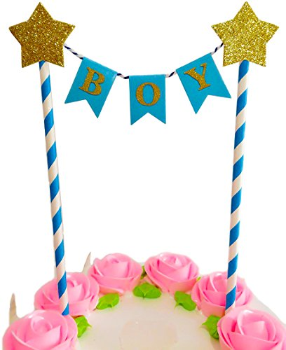 New Baby BABY SHOWER Cake Bunting Topper Decoration Pastel Blue Girl Boy