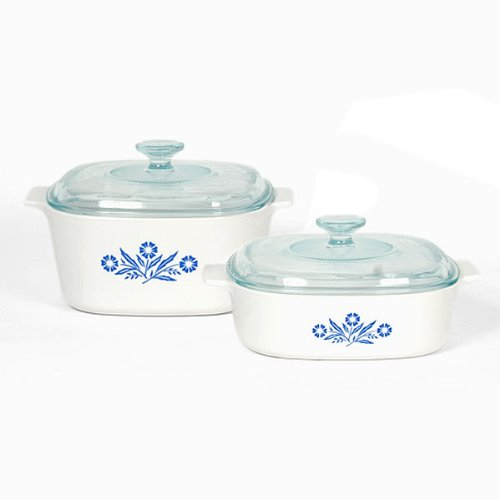 Corningware Pyroceram Blue Cornflower 4 pc. Glass Ceramic Cookware Set - Limited Edition