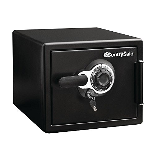 SENTRY SFW082DTB Fire-Safe 0.8 Cu. Ft. Combination with Key, 16 3/8 x 19 3/8 x 13 3/4, Black