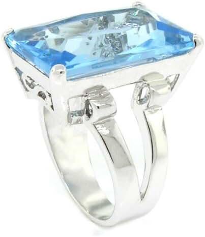 Bold & Elegant Solitaire Cocktail Ring Blue CZ