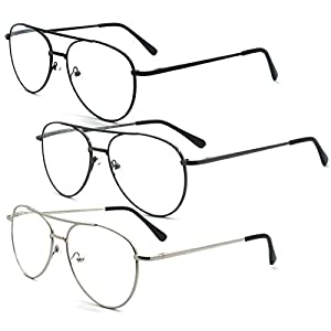 Eye-Zoom 3 Pack Aviator Style Metal Frame Reading Glasses with Spring Hinge, Black, Gunmetal and Silver Color, 1.50 Strength