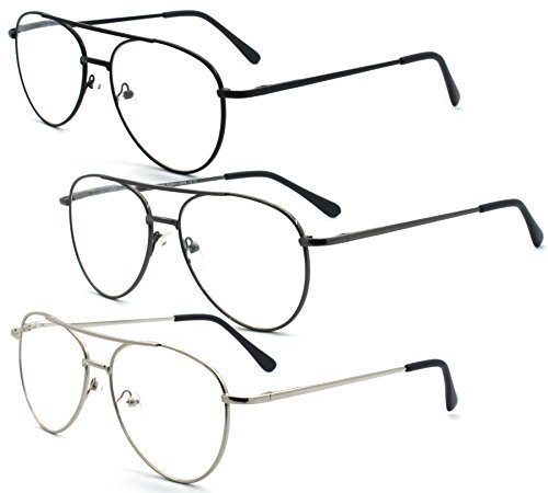 EYE ZOOM 3 Pack Aviator Style Metal Frame Reading Glasses with Spring Hinge, Black, Gunmetal and Silver Color, 2.00 Strength