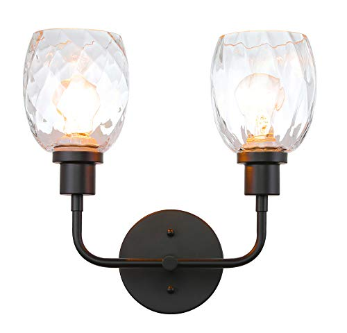 Wall Light 2 Light Wall Sconce with Clear Glass in Matte Black Modern Bathroom Vanity Lighting for Bathroom & Kitchen XiNBEi-Lighting XB-W1210-2-MBK -