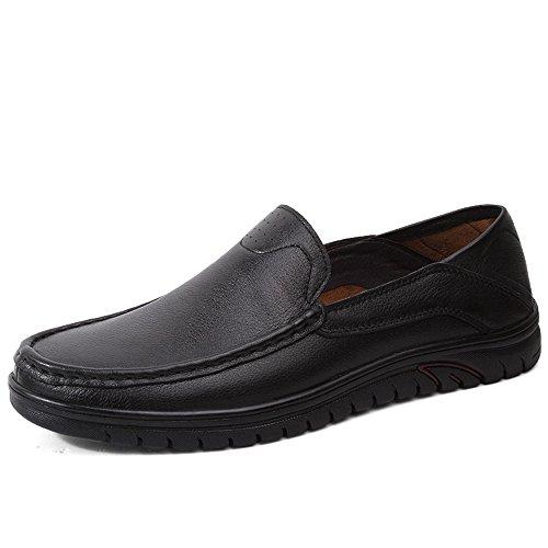 Cuero Ocio Vamp Antideslizante Negro EU Hombres Aire amp;Baby Sole Wave Mocasín Balck Zapatos Mocasín en de conducción de Hollow Respirable Mocasines los al tamaño Sunny 44 Color de Genuino de Libre vUFqAq