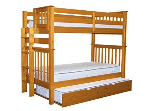 Bedz King Tall Bunk Beds Twin over Twin Mission Style with End Ladder and a Twin Trundle, Honey For Sale