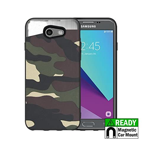 Samsung J3 Emerge J327 Galaxy Amp Prime 2 Galaxy J3 Prime Shock-Absorption Slim Protective Case with Built-in Metal Plate, Lightweight Cell Phone Case Cover - Green - Camo Cell Phone Cover