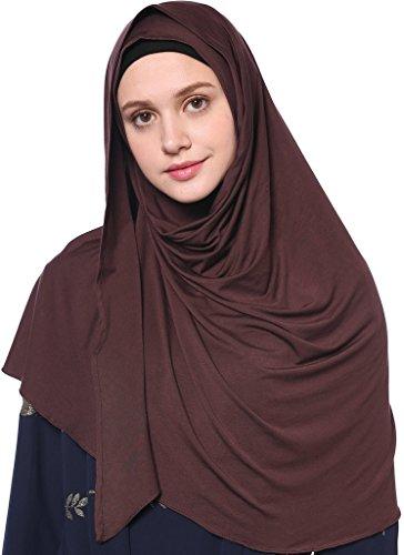 YI HENG MEI Women's Modest Muslim Islamic Soft Solid Cotton Jersey Inner Hijab Full Cover Headscarf,Coffee by YI HENG MEI (Image #5)