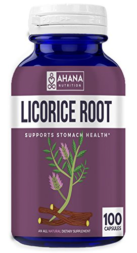 Ahana Nutrition Licorice Root Capsules for Upset Stomach, Heartburn, and Immune Support (900mg - 100 Pills) ()