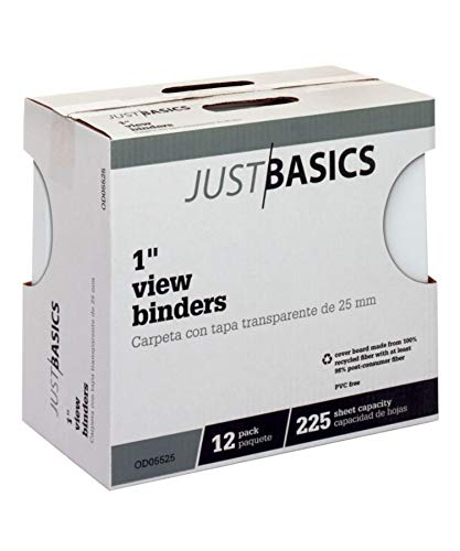 (Just Basics Round-Ring View Binder, 1in. Rings, 100% Recycled, White, Pack of 12, OD05525)