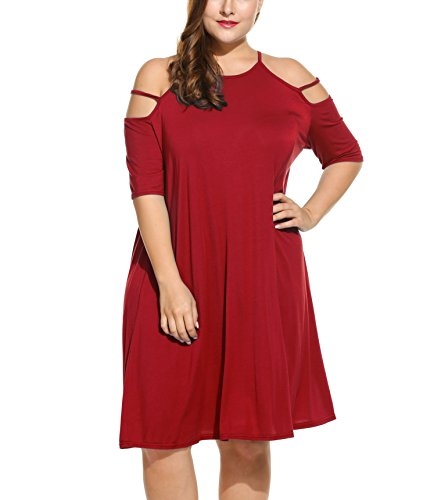 Meaneor Womens Plus Size Cut Out Cold Open Shoulder Sexy Mini Dress Sundress