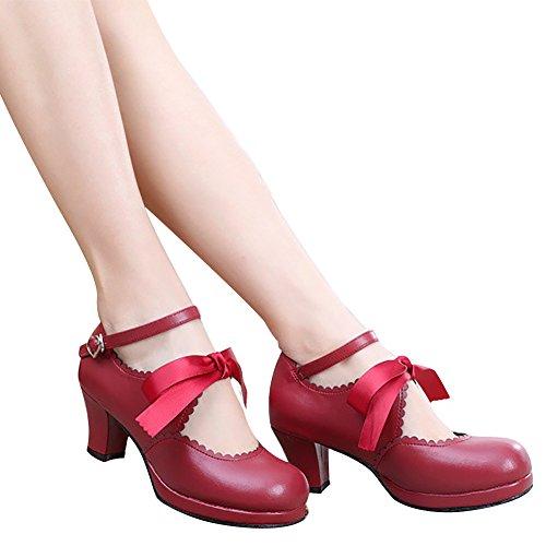 la Rojo de lazo princesa alto zapatos Mujer de De correa Sweet Lolita tacón tobillo bombas BTq6cdxI