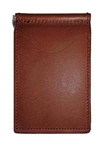 Back Saver Leather Wallet for Men | Front Pocket Compact Minimalist Slim Leather Wallet | Spring Money Clip and Photo Holder Card Sleeves (English Tan Premium Steerhide) - Golf Leather Wallet