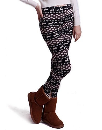 Stretch Knit Leggings (HDE Women Winter Knit Leggings Fleece Line Nordic Design Thermal Insulated Pants (Black White Dots and Reindeer, Large))