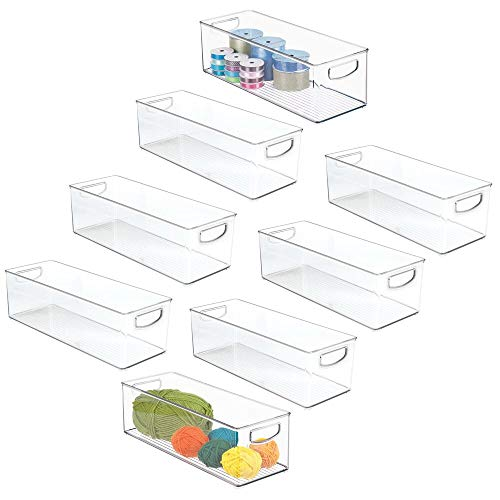 mDesign Stackable Plastic Storage Organizer Bin with Built-in Handles - for Craft, Sewing, Art, School Supplies in Home, Office, Classroom, Playroom or Studio - 16