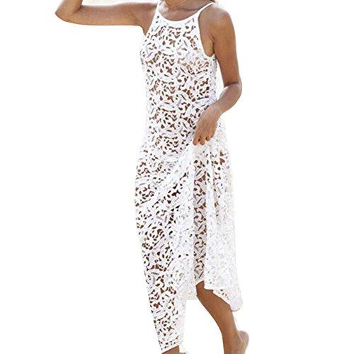 Juleya Bohemio Mujeres Pareo Largo Vestido Playa de Bañador Estampado para Playa Bikini Cover UP Blanco