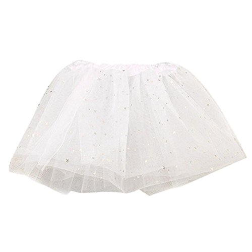 [VESNIBA Baby Kids Girls Princess Stars Sequins Party Dance Ballet Tutu Skirts (Free size, White)] (Dancing With The Stars Costumes Designs)