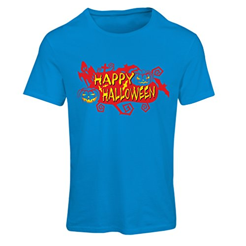 T Shirts Women Owls, Bats, Ghosts, Pumpkins - Halloween Outfit Full Spookiness (Small Blue Multi Color) -