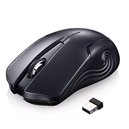 Ergonomische Schnurlos Maus USB Mäuse Wireless Mouse 2.4G Optische Maus PC Mit Empfänger, Drahtlose 3-Taste Maus (ET D-100) Für PC Laptop iMac Macbook Microsoft Pro, Office Home - Schwarz